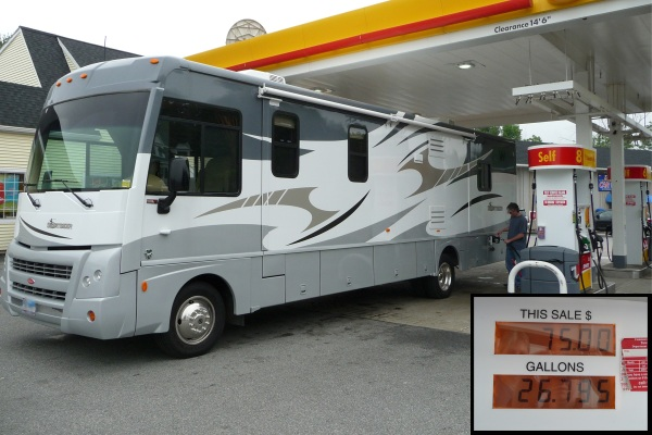 RV at the gas station, motor home