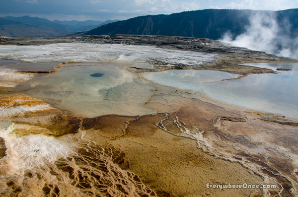 Yellowstone National Park Mammoth Hot Spring Landscape