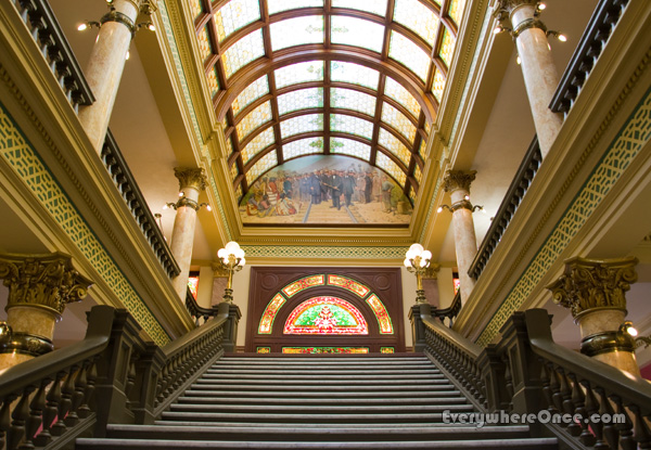 Montana State Capitol Staircase, Stained Glass