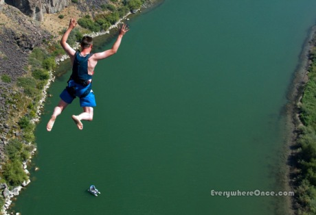 BASE Jumper in Freefall Perrine Bridge Idaho Parachute Adventure
