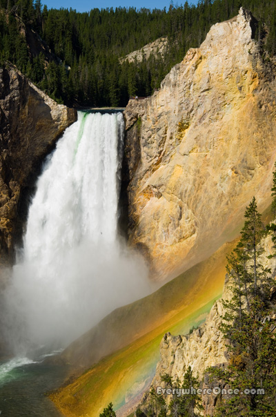 Yellowstone National Park Lower Falls Rainbow Waterfall