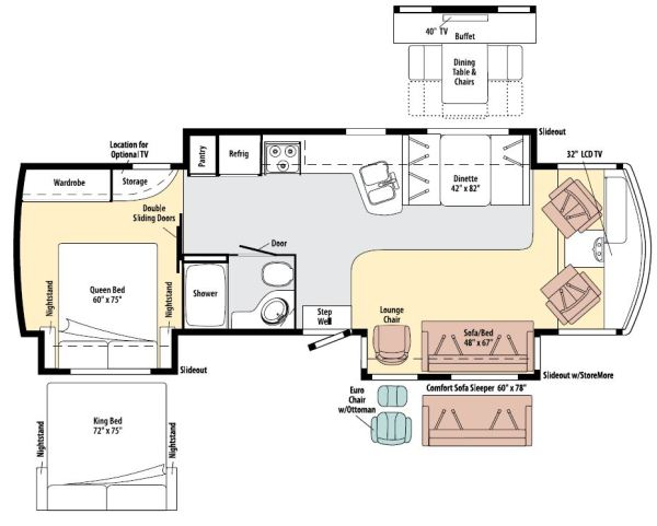 The efficient design of our 280 sqf of living space provides more than enough room for two people.
