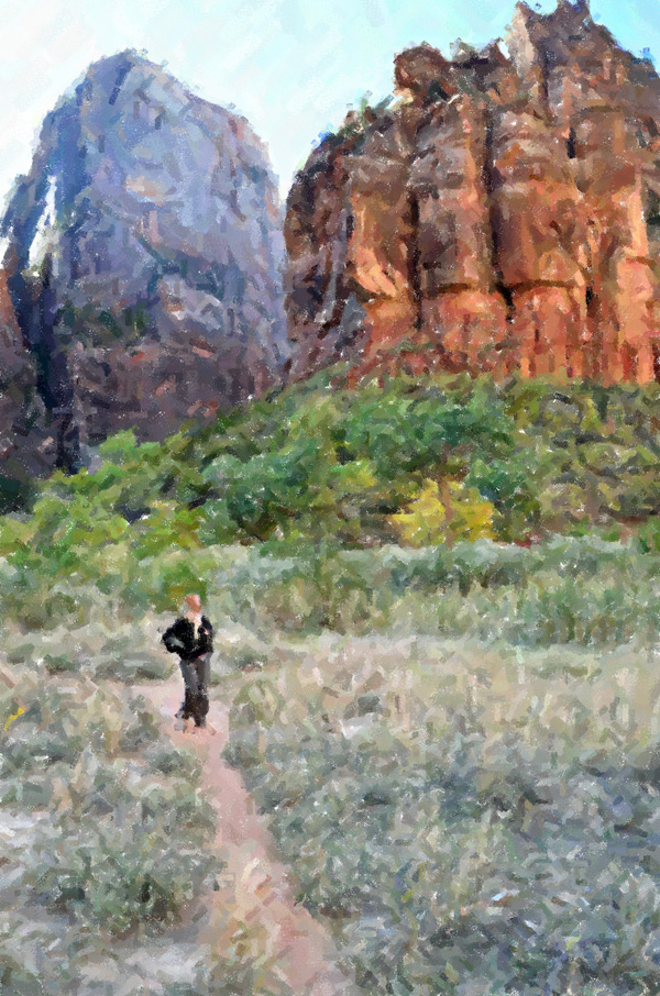 Impressionist Zion National Park Girl on trail