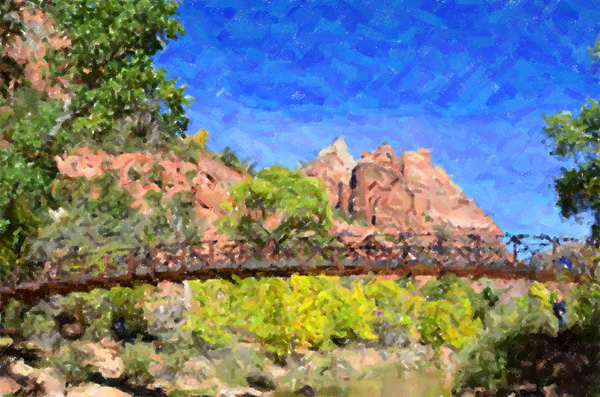 Impressionist Zion National Park Bridge Fall