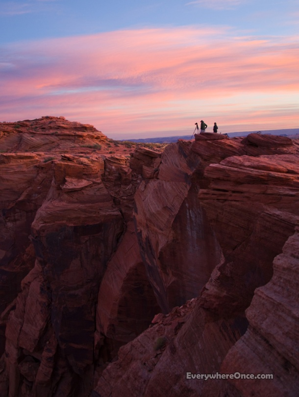 Photographers at Sunrise, Red Rocks, Cliff