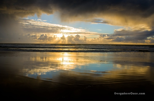 Stormy Pacific Beach Sunset California