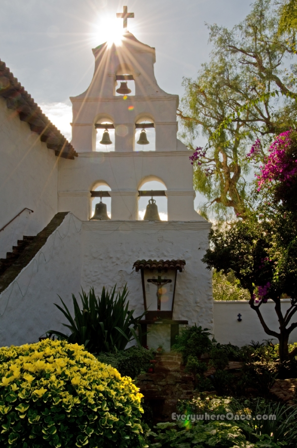 Mission San Diego de Alcalá Garden, California, Church, Sun flare