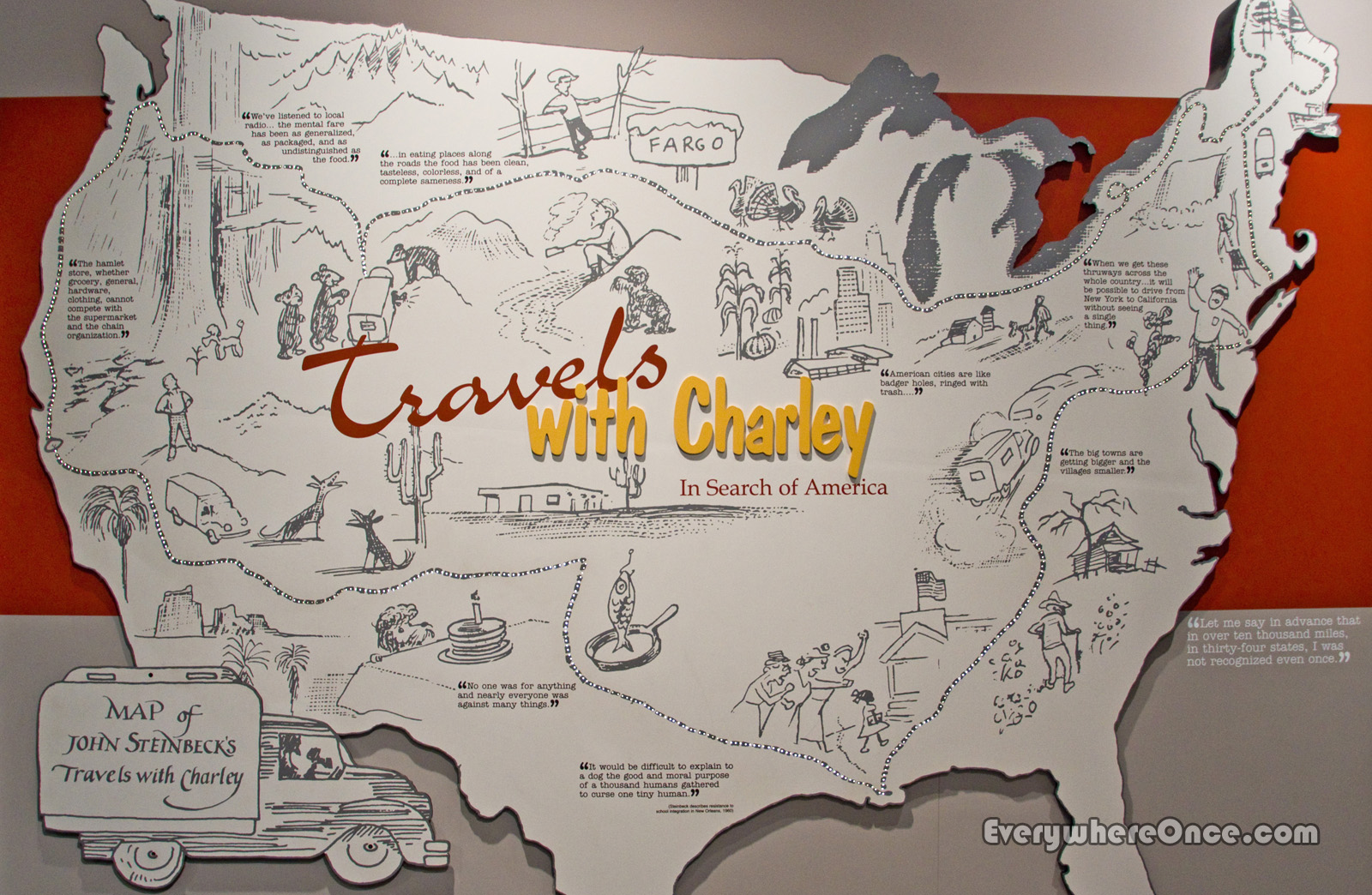 Celebrity Guest Blogger An Epic Road Trip – Travels With Charley Map