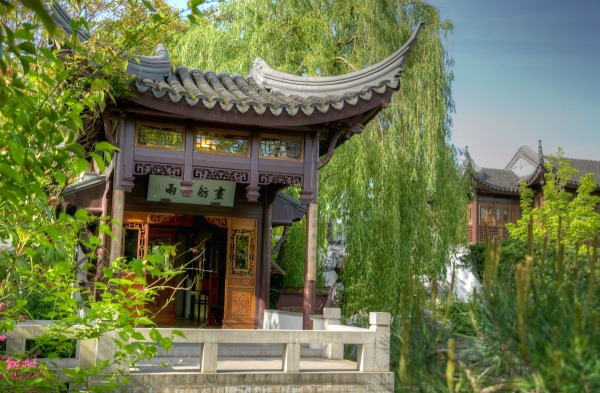Even the lyrical names given to garden spaces inspire a sense of calm, like the Courtyard of Tranquility or, seen here, a pavilion called Painted Boat in Misty Rain. The boat-shaped structure represents the vessel that traveled from Suzhou to Portland.