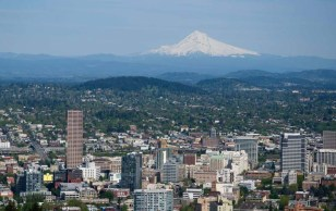 View of Portland and Mount Hood from Pittock Mansion