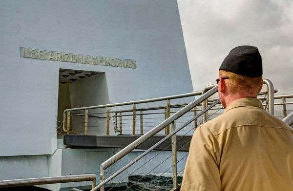 Sailor Outside USS Arizona Memorial