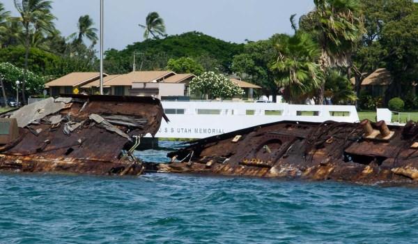 USS Utah wreckage and memorial