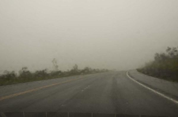 Whiteout up Mauna Kea