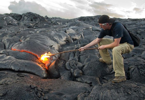Brian Taunting Lava with a stick