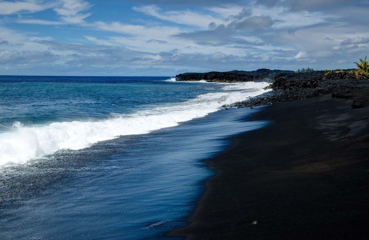 A darker shade of black everywhere once Black sand beach hawaii