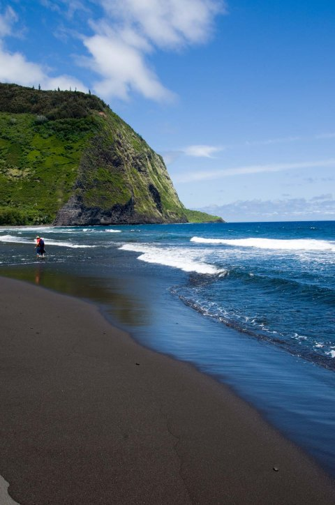 Waipio Valley Black Sand Beach, Big Island, Hawaii