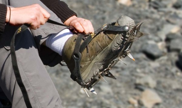 Donning Crampons