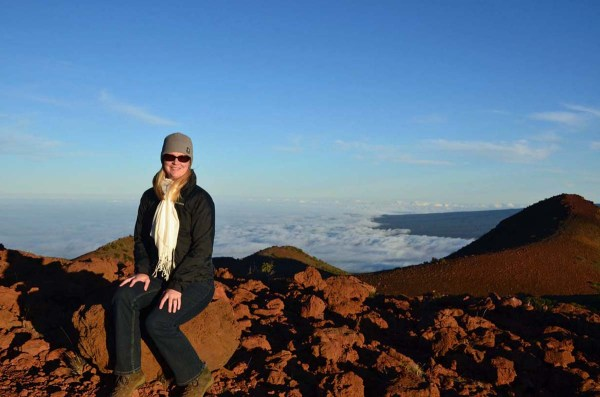 Bundled up atop Hawaii's Mauna Kea