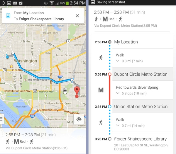 Google Maps Smartphone Directions