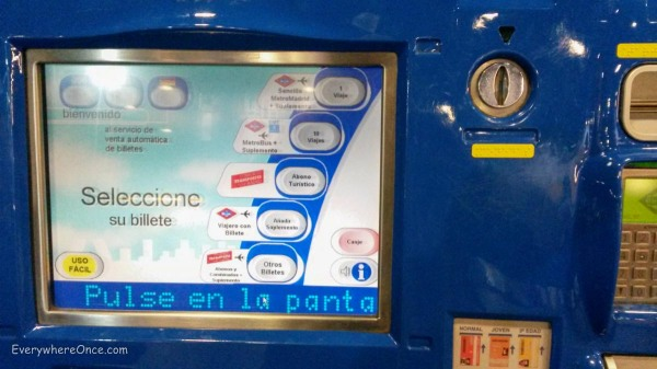 Madrid Metro Ticket Machine