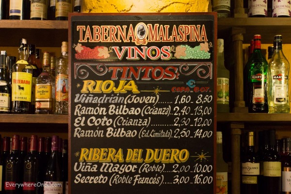 Madrid Wine Menu