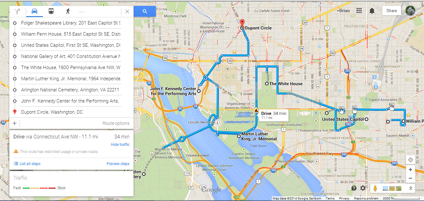 how to use google maps as a route planner