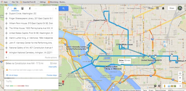 Throw a bunch of destinations into Google Maps to get a sense of how to plan your day(s)