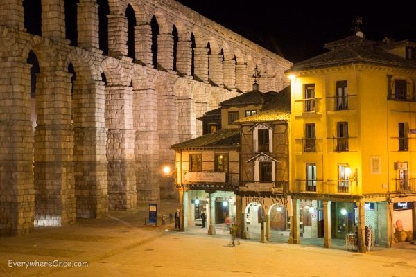 Segovia Roman Aqueduct at Night