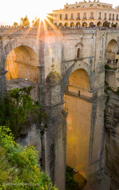 Sunset on New Bridge (Puente Nuevo), Ronda, Spain