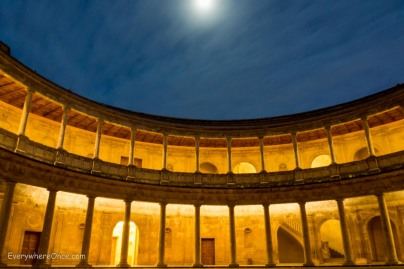 Alhambra Palace of Charles V at Night