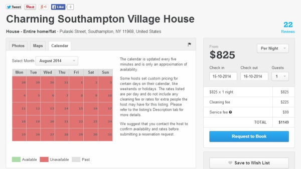 Sorry, this $825 per night house in The Hamptons is fully booked for August.