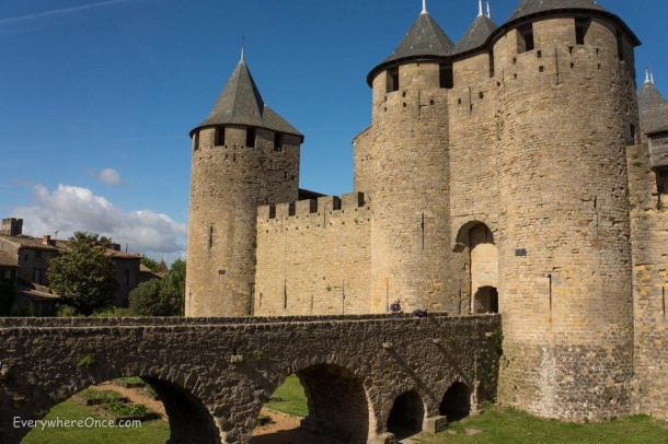 Carcassonne, France drawbridge