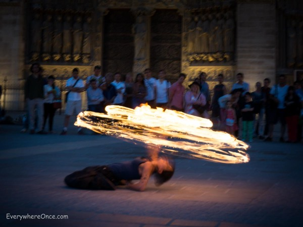 Fire Dancers Outside Notre Dame, Paris 2