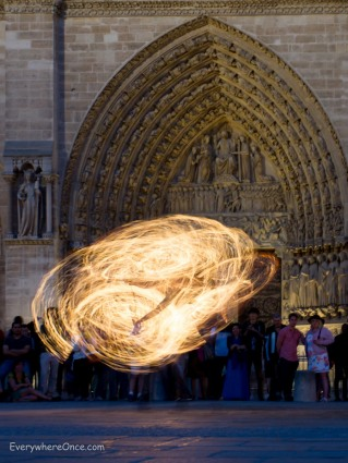 Fire Dancers Outside Notre Dame, Paris 5
