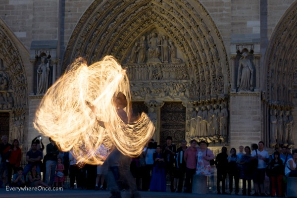 Fire Dancers Outside Notre Dame, Paris 6