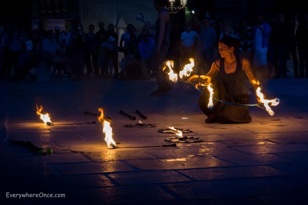 Fire Dancers Outside Notre Dame, Paris