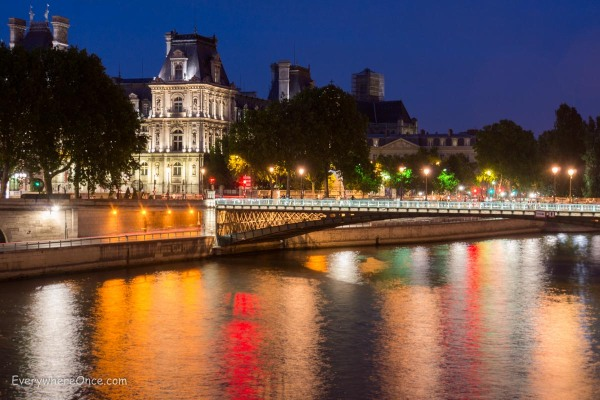 Paris Overlooking the Seine at Night