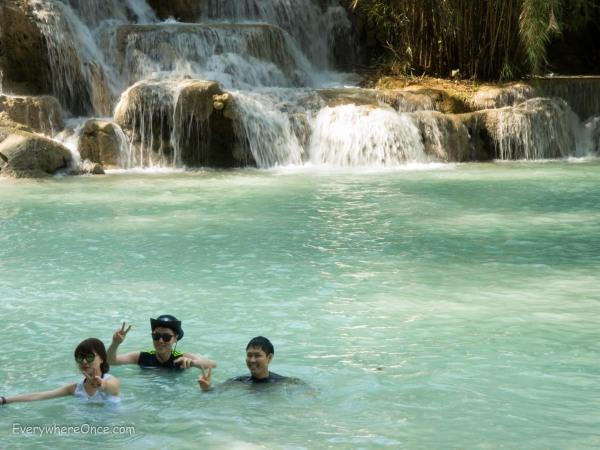 Luang Prabang Swimming in Kuang Si Falls