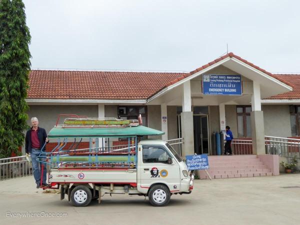 Our ambulance arrives at Luang Prabang Hospital