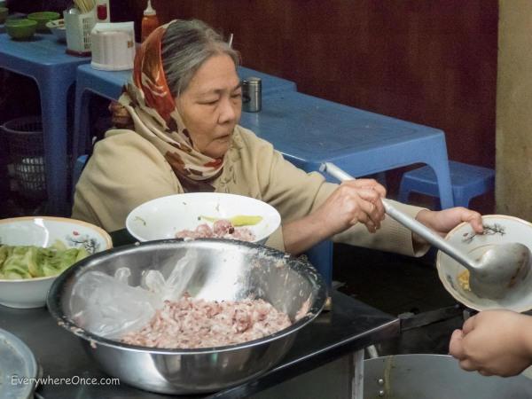 Serving up Bun Doc Mung in Hanoi