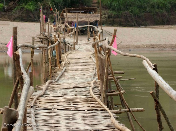 Temporary bamboo bridge Luang Prabang, Laos