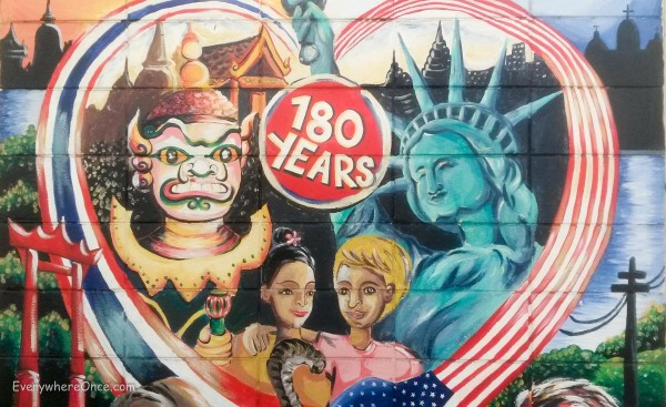 Mural outside the U.S. Embassy in Bangkok – 180 Years of Friendship