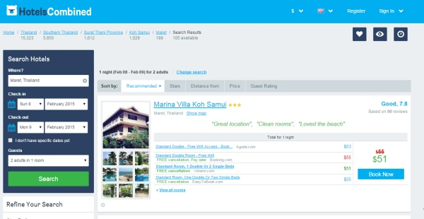 Sites like HotelsCombined compare prices from multiple booking engines