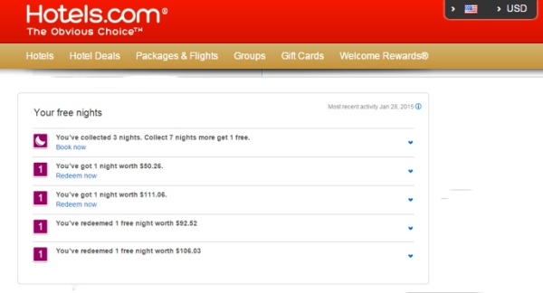 Book 10 nights through Hotels.com and get one night free