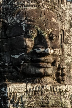Carved face at Bayon Templ in Angkor Wat