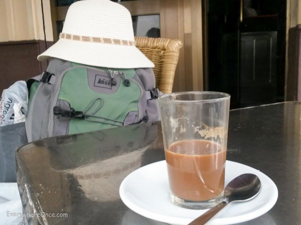 Shannon's bag enjoying a coffee in Spain