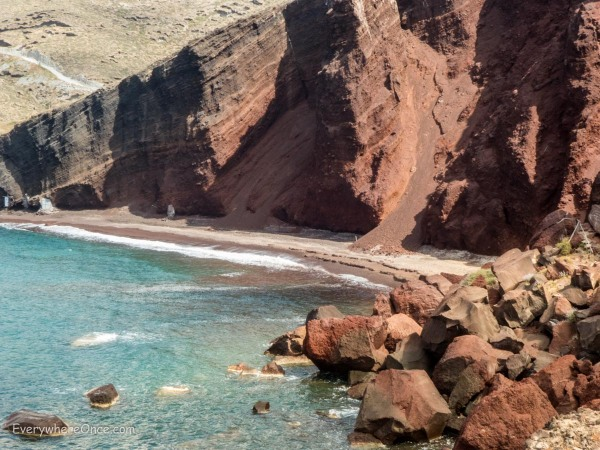 Red Sand Beach Santorini Greece