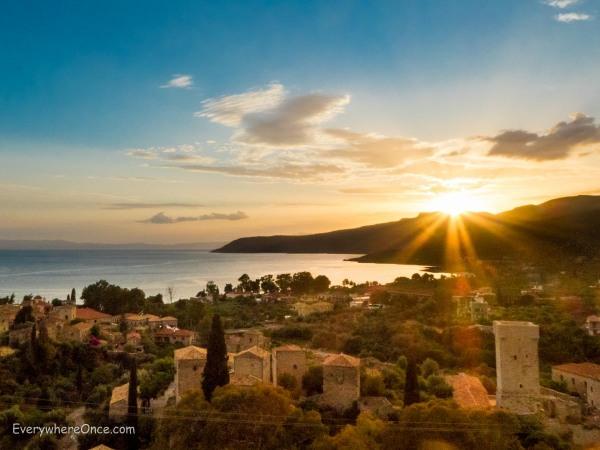 Sunset over Kardamyli, Greece
