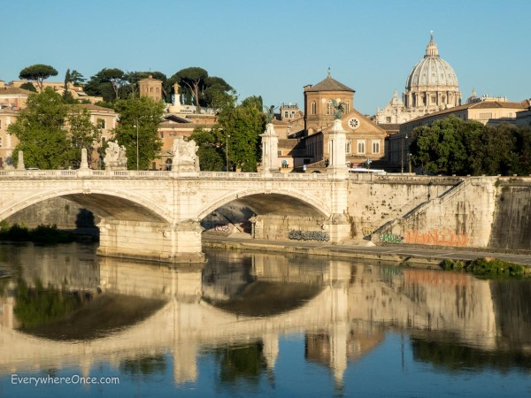 Saint Peter's Dome and the Tiber River