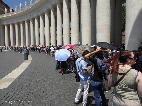 We think this is about one-quarter of the security line in front of Saint Peter's Basilica. Because we never found the end of the line, it might show even less than that.